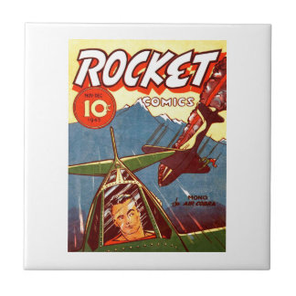 Vintage Fighter Aircraft Comic Ceramic Tile