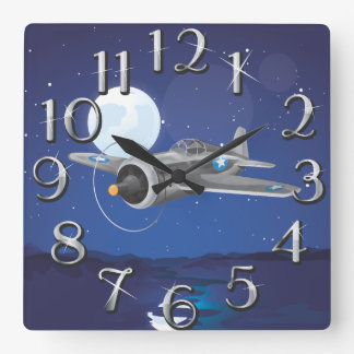 Vintage fighter Aircraft Square Wall Clock