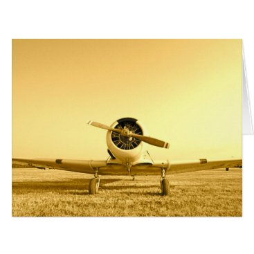 Vintage Fighter Airplane Golden Yellow Big Card