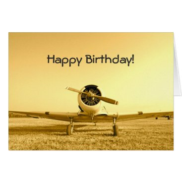 Vintage Fighter Airplane Yellow Birthday Note Card