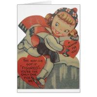 Vintage Figure Skater Valentine's Day Card