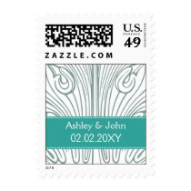 Vintage Filigree Aqua and White Wedding Postage