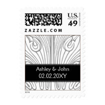 Vintage Filigree Black and White Wedding Postage