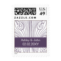 Vintage Filigree Purple and White Wedding Postage