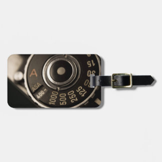 vintage film camera dial luggage tag