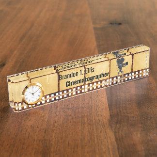 Vintage Film Desk Name Plate With Clock