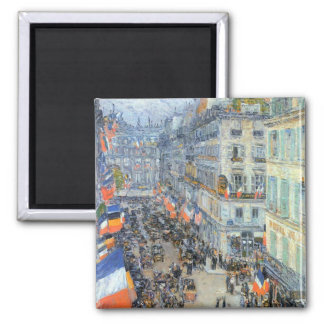 Vintage Fine Art, July 14th, Rue Daunou by Hassam 2 Inch Square Magnet