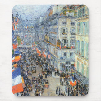 Vintage Fine Art, July 14th, Rue Daunou by Hassam Mouse Pad