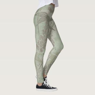 Vintage Fine Art Textile Japanese Green Bamboo Leggings