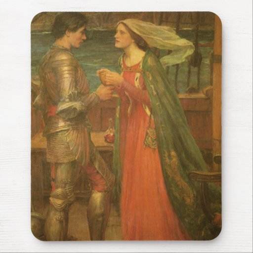 Vintage Fine Art, Tristan and Isolde by Waterhouse Mouse Pad