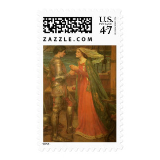 Vintage Fine Art, Tristan and Isolde by Waterhouse Postage Stamp