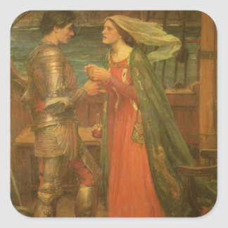 Vintage Fine Art, Tristan and Isolde by Waterhouse Square Sticker