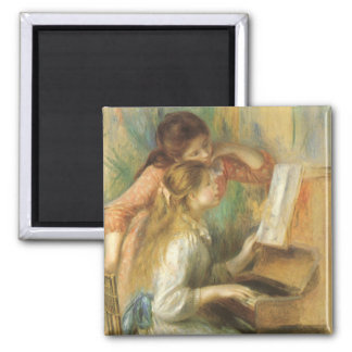 Vintage Fine Art, Young Girls at Piano by Renoir 2 Inch Square Magnet