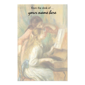 Vintage Fine Art, Young Girls at Piano by Renoir Stationery