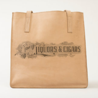 Vintage Fine Liquors and Cigars Leather Tote Bag