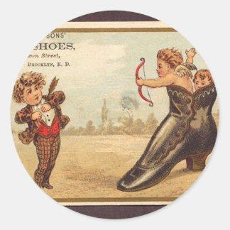 Vintage fine shoes advert classic round sticker