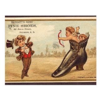 Vintage fine shoes advert postcard