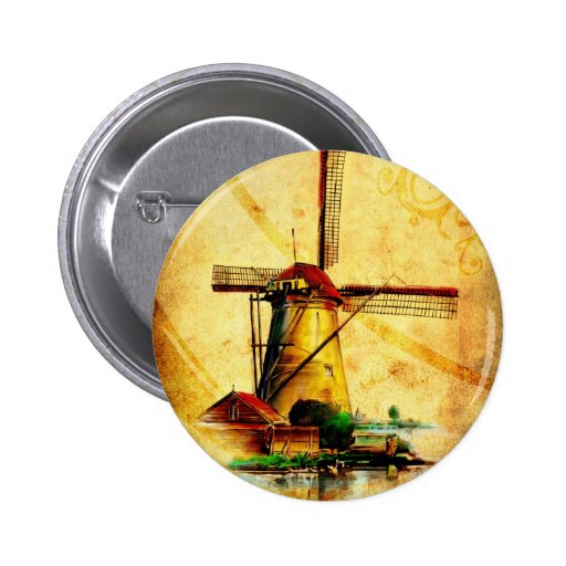 Vintage fineart F021 Windmill Pinback Buttons