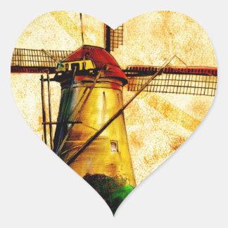 Vintage fineart F021 Windmill Heart Sticker