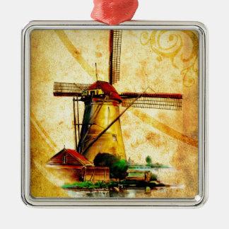 Vintage fineart F021 Windmill Metal Ornament