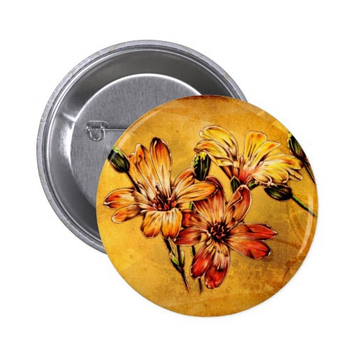 Vintage fineart F044 flower Pinback Buttons