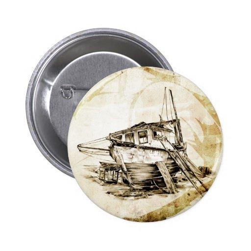 Vintage fineart F069 boat Pinback Button