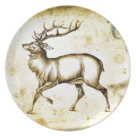 Vintage fineart F076 deer Party Plates