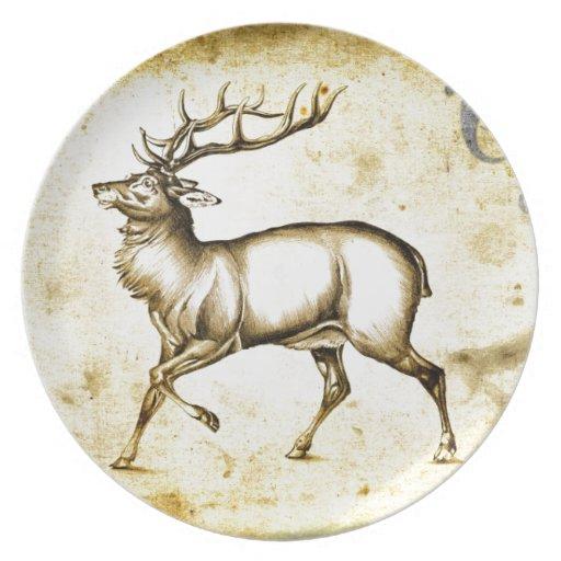 Vintage fineart F076 deer Dinner Plates