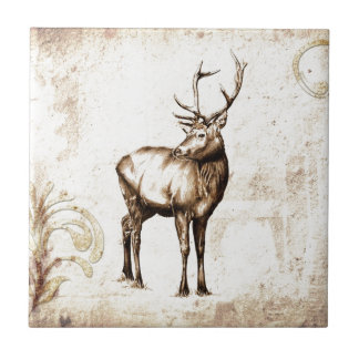 Vintage fineart F077 deer Ceramic Tile