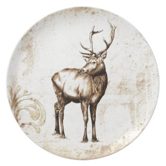 Vintage fineart F077 deer Dinner Plate