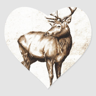Vintage fineart F077 deer Heart Sticker