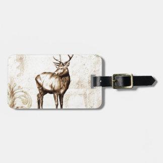 Vintage fineart F077 deer Luggage Tag