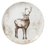 Vintage fineart F077 deer Party Plates