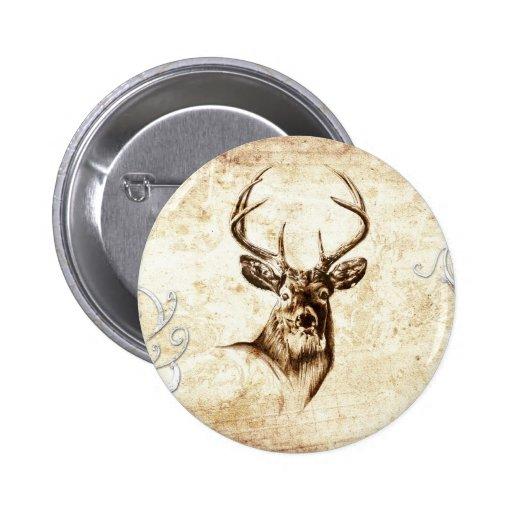 Vintage fineart F078 deer Pinback Button