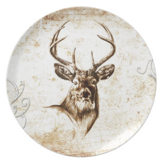 Vintage fineart F078 deer Melamine Plate
