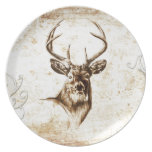 Vintage fineart F078 deer Party Plates