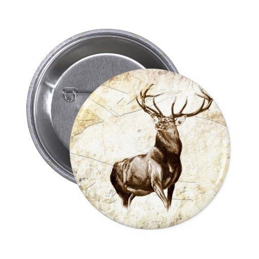 Vintage fineart F079 deer Pinback Buttons