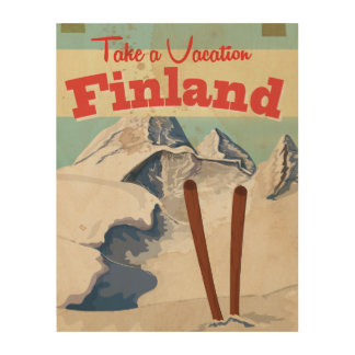 Vintage Finland Travel Poster Wood Wall Decor