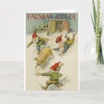 Vintage Finnish Elf And Pig Christmas Card