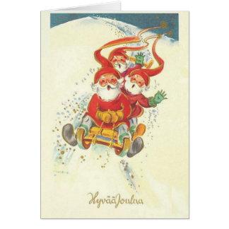 Vintage Finnish Santa Hyvää Joulua Christmas Card