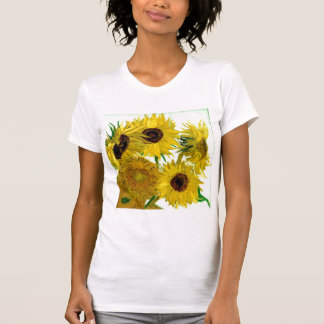 Vintage fino de los girasoles de Van Gogh floral Tee Shirts