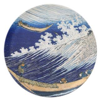 Vintage fino japonés de las olas oceánicas de Hoku Platos