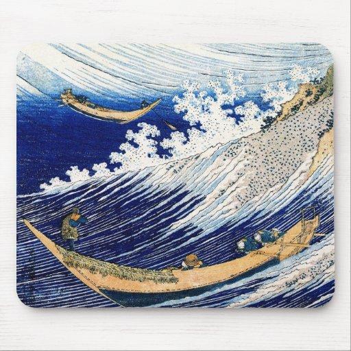 Vintage fino japonés de las olas oceánicas de Hoku Alfombrillas De Ratones