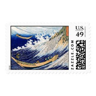 Vintage fino japonés de las olas oceánicas de sello postal