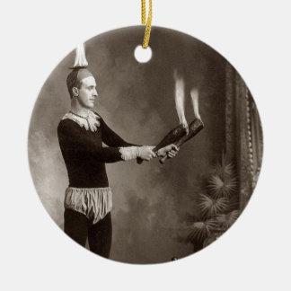 Vintage Fire Juggler Ceramic Ornament