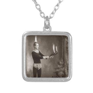 Vintage Fire Juggler Silver Plated Necklace