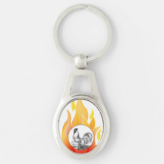 Vintage fire rooster illustration keychain