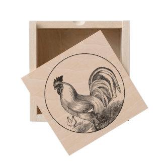 Vintage fire rooster illustration wooden keepsake box