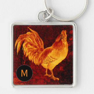 Vintage Fire Rooster Monogram Square Keychain