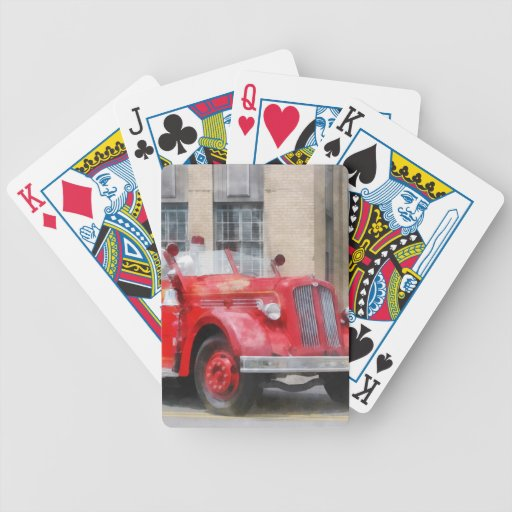 Vintage Fire Truck Bicycle Poker Cards